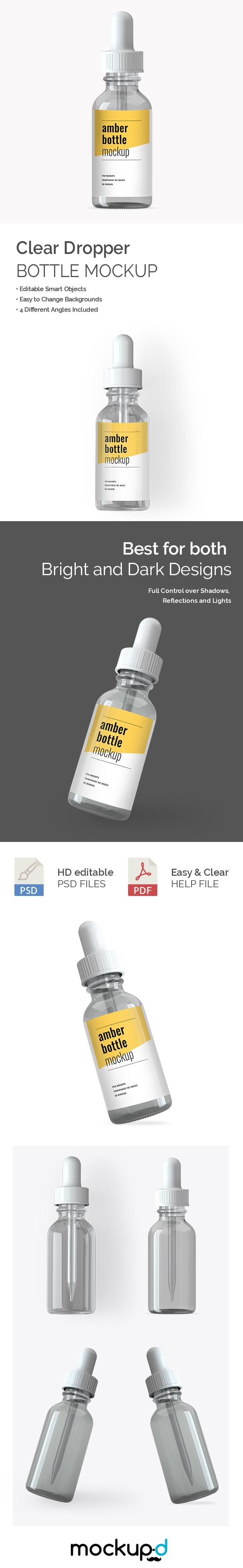 Clear Dropper Bottle Mockup - Mockup Daddy
